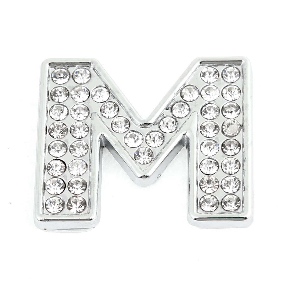 Car Surface Decor Rhinestones Silver Tone Letter M Style Sticky Sticker