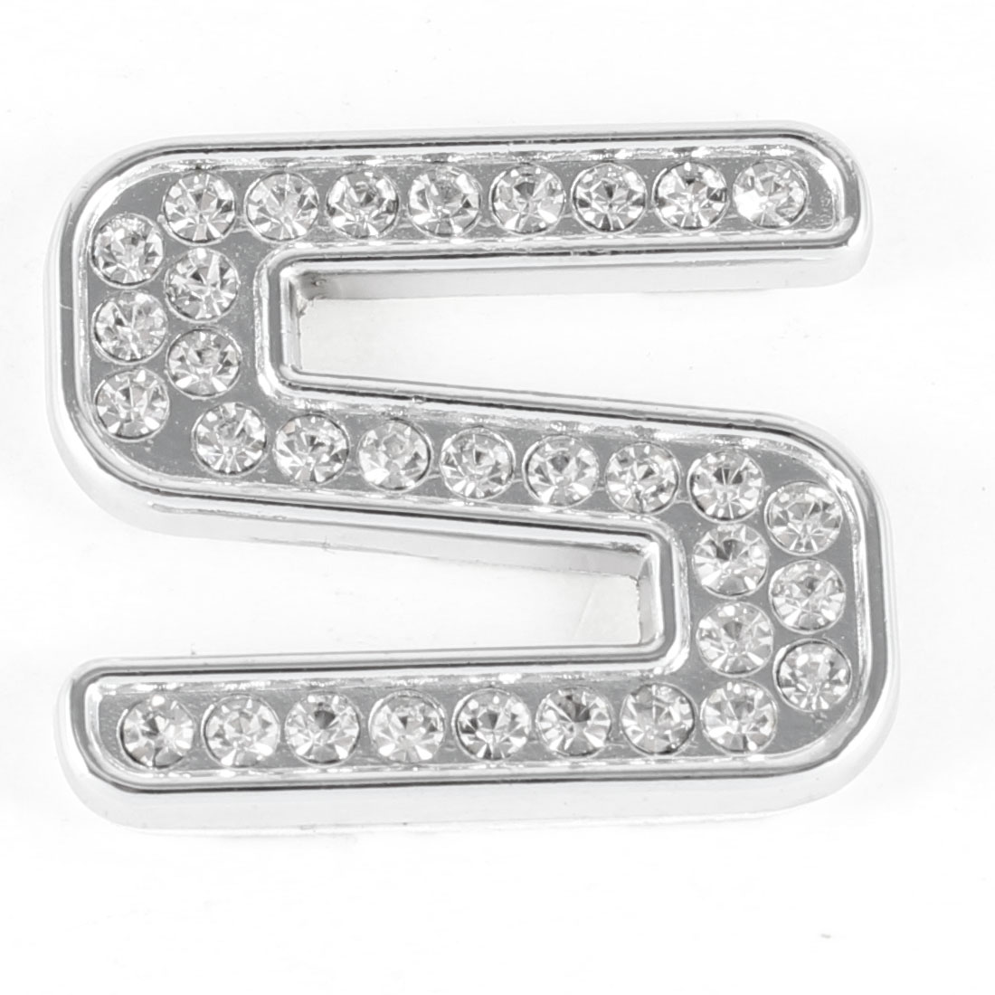 Bling Rhinestones Silver Tone Letter S Style 3D Sticker for Car Autocycle