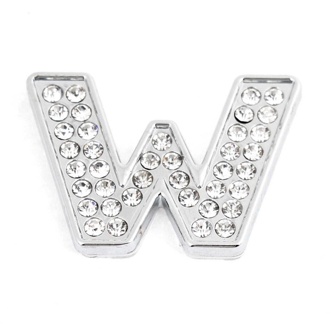 Car Vehicle Rhinestone Accent Letter W Pattern Stickers Silver Tone