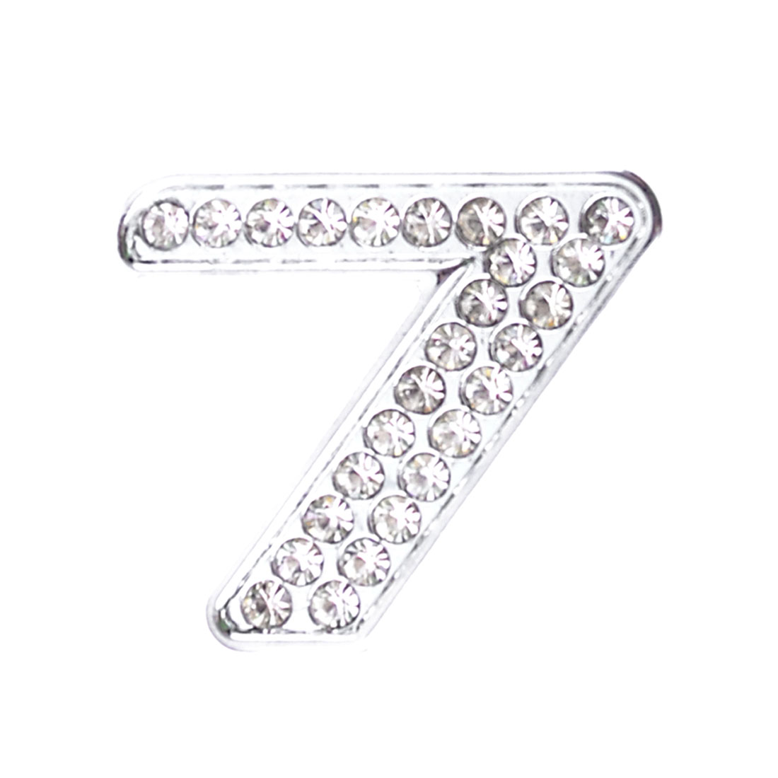 Silver Tone Metal Rhinestone Implant Number 7 Shaped Car Badge Sticker