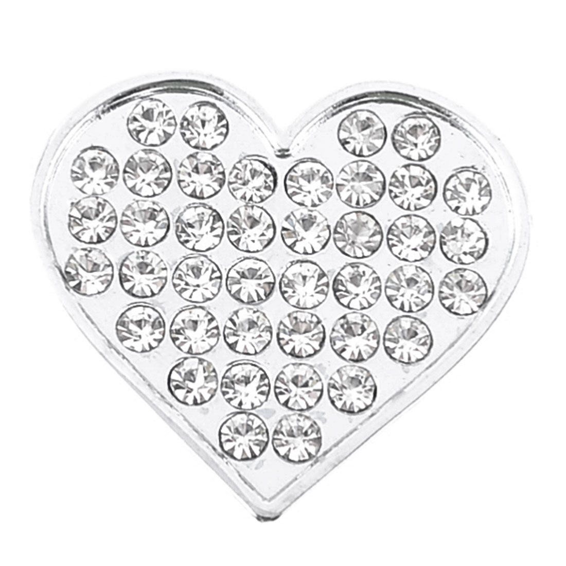Bling Rhinestones Silver Tone Heart Shape Design 3D Emblem Car Sticker