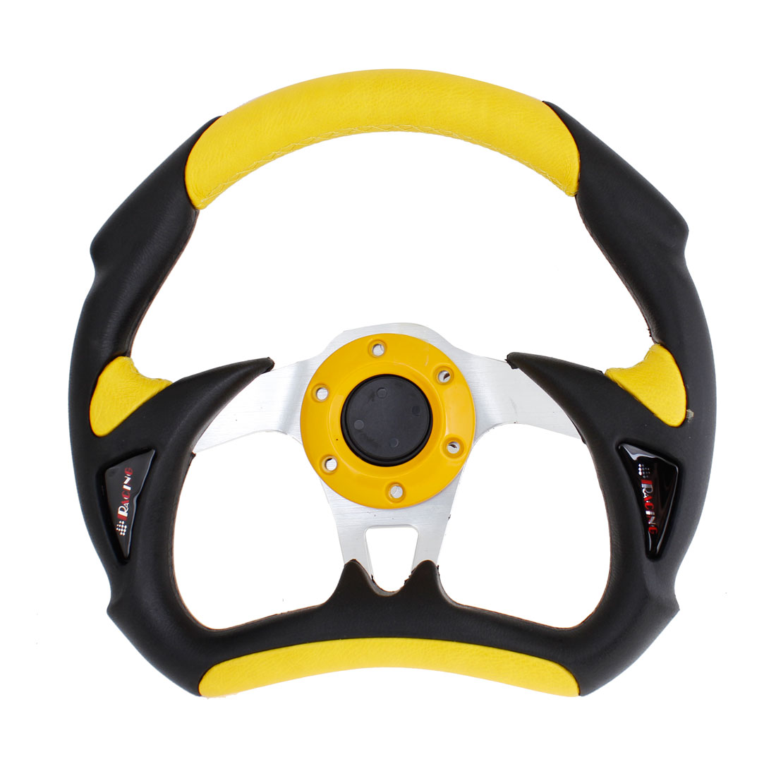 "Yellow Black Faux Leather Wrapped 12"" Dia Racing Steering Wheel for Car"