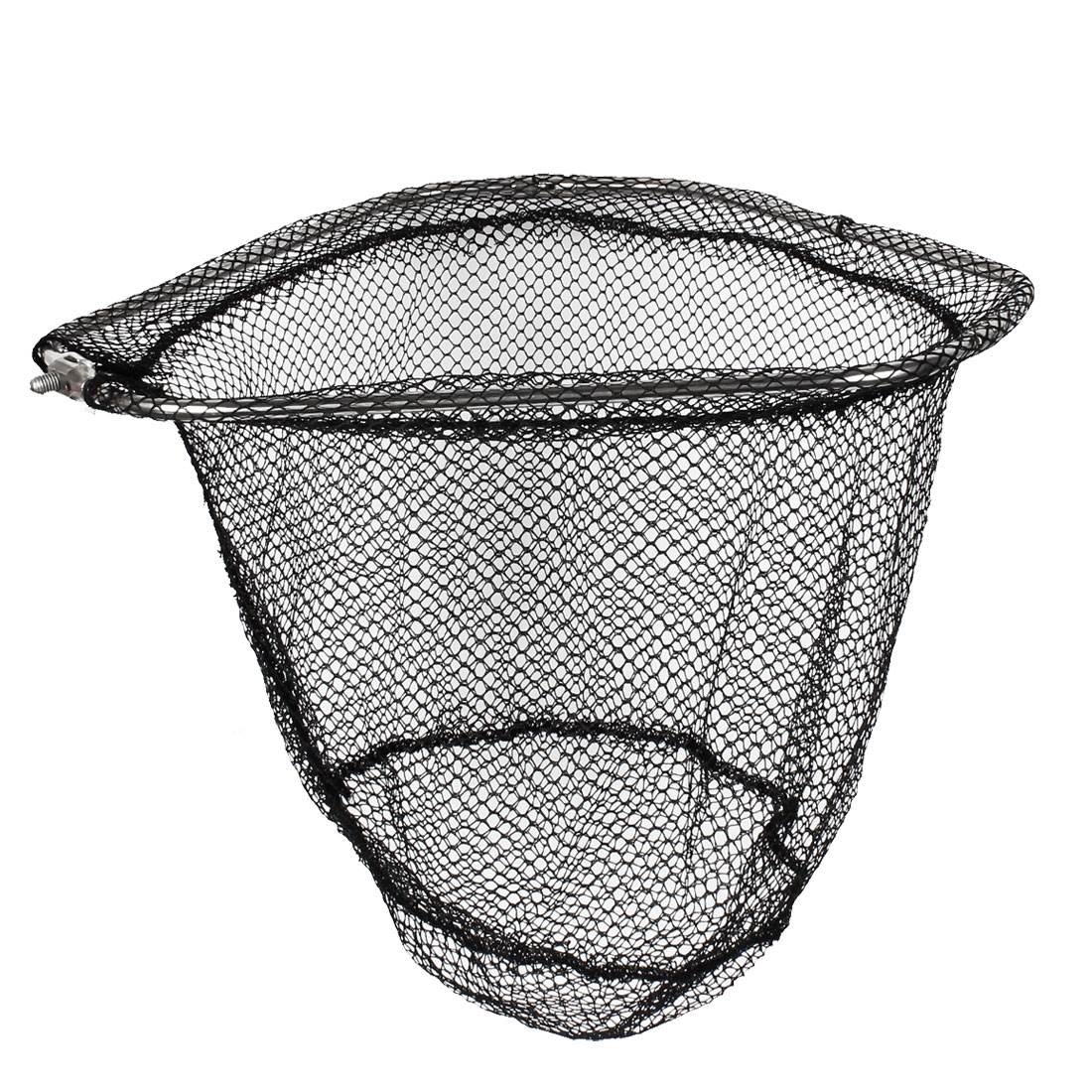 7.8mm Screw Dia Black Mesh Foldable Triangle Shape Fishing Landing Net