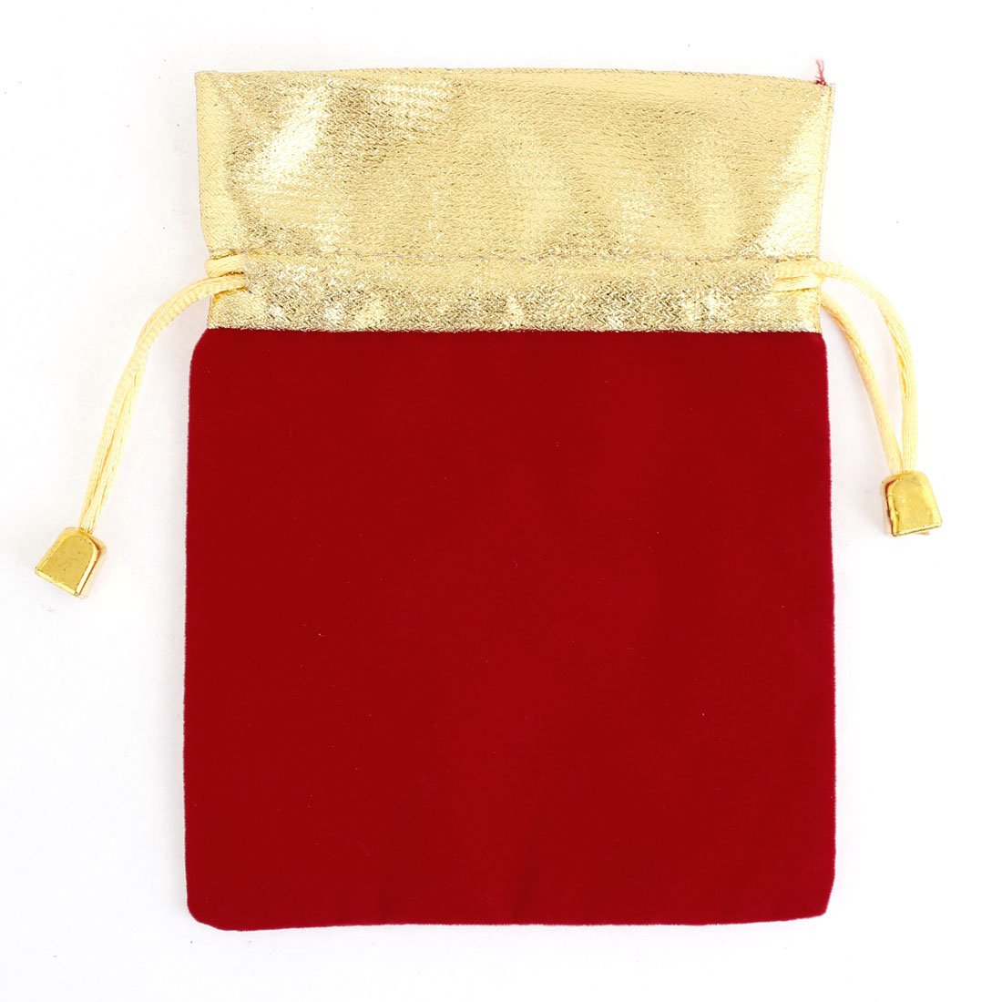 Gold Tone Drawstring Red Velvet Jewelry Birthday Gift Bag 15.5 x 11.5cm