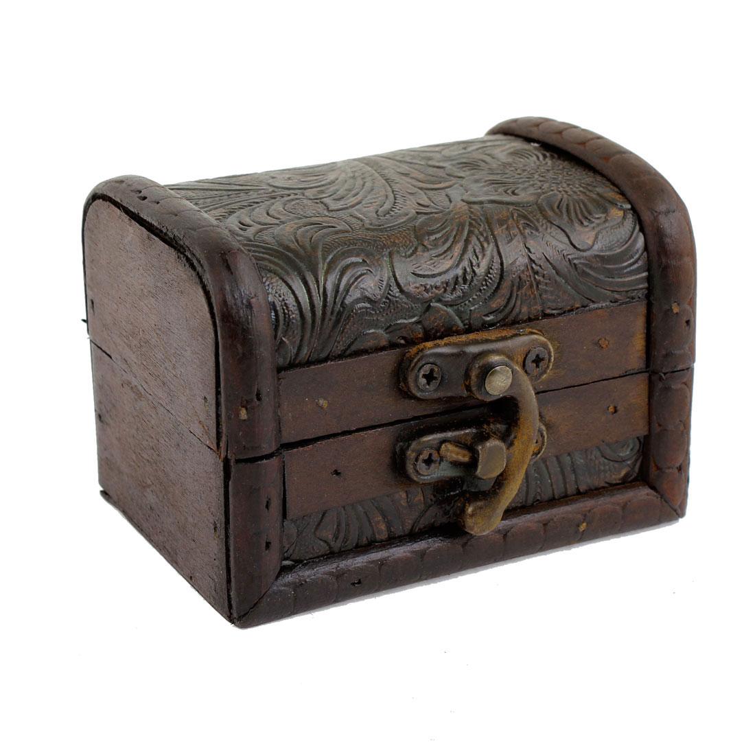 Chrysanthemum Print Wood Metal Buckle Jewelry Storage Case Box