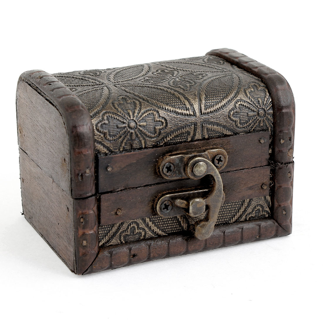 Symmetric Floral Print Wooden Metal Buckle Jewelry Storage Case Box