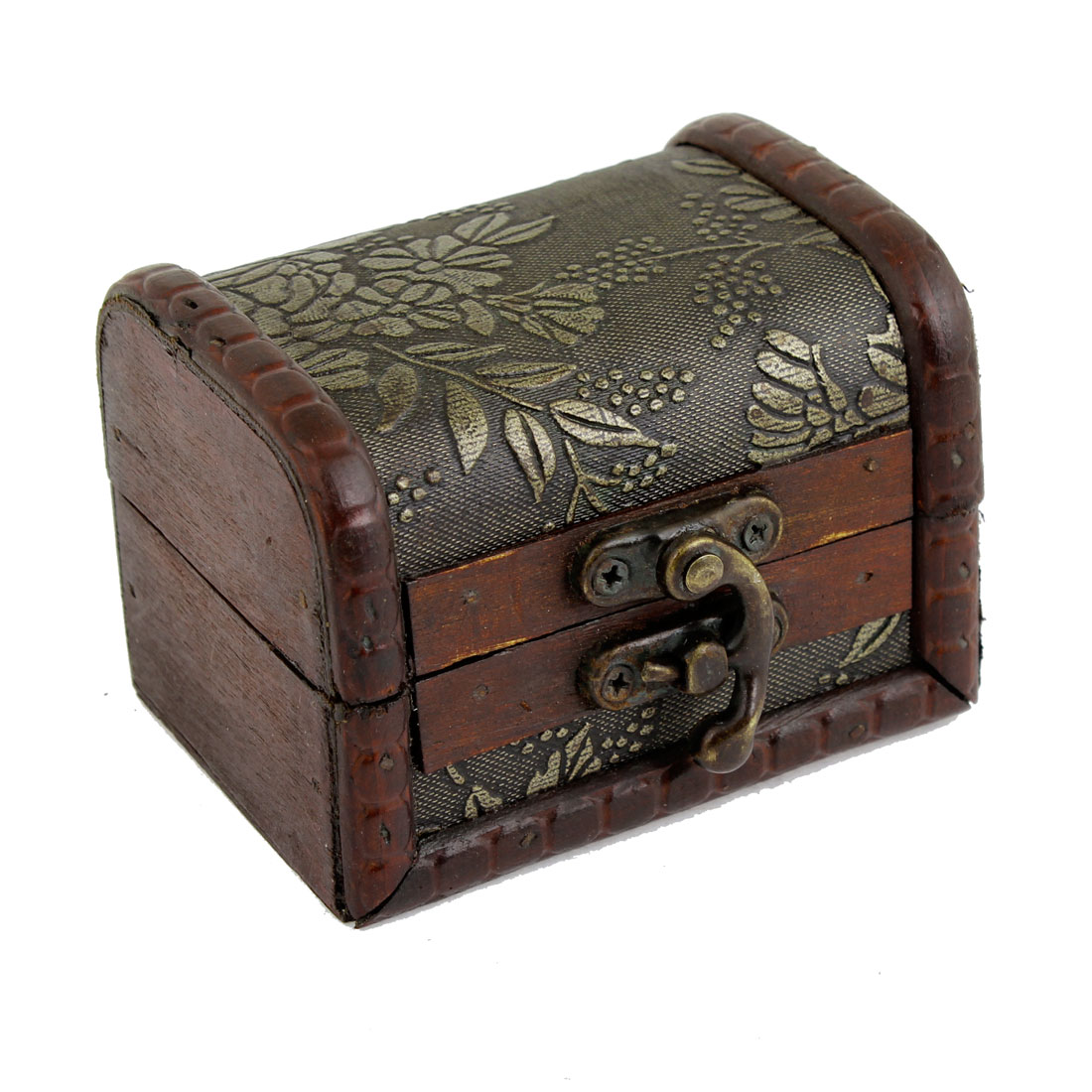 Vintage Style Wooden Metal Buckle Jewelry Storage Case Box