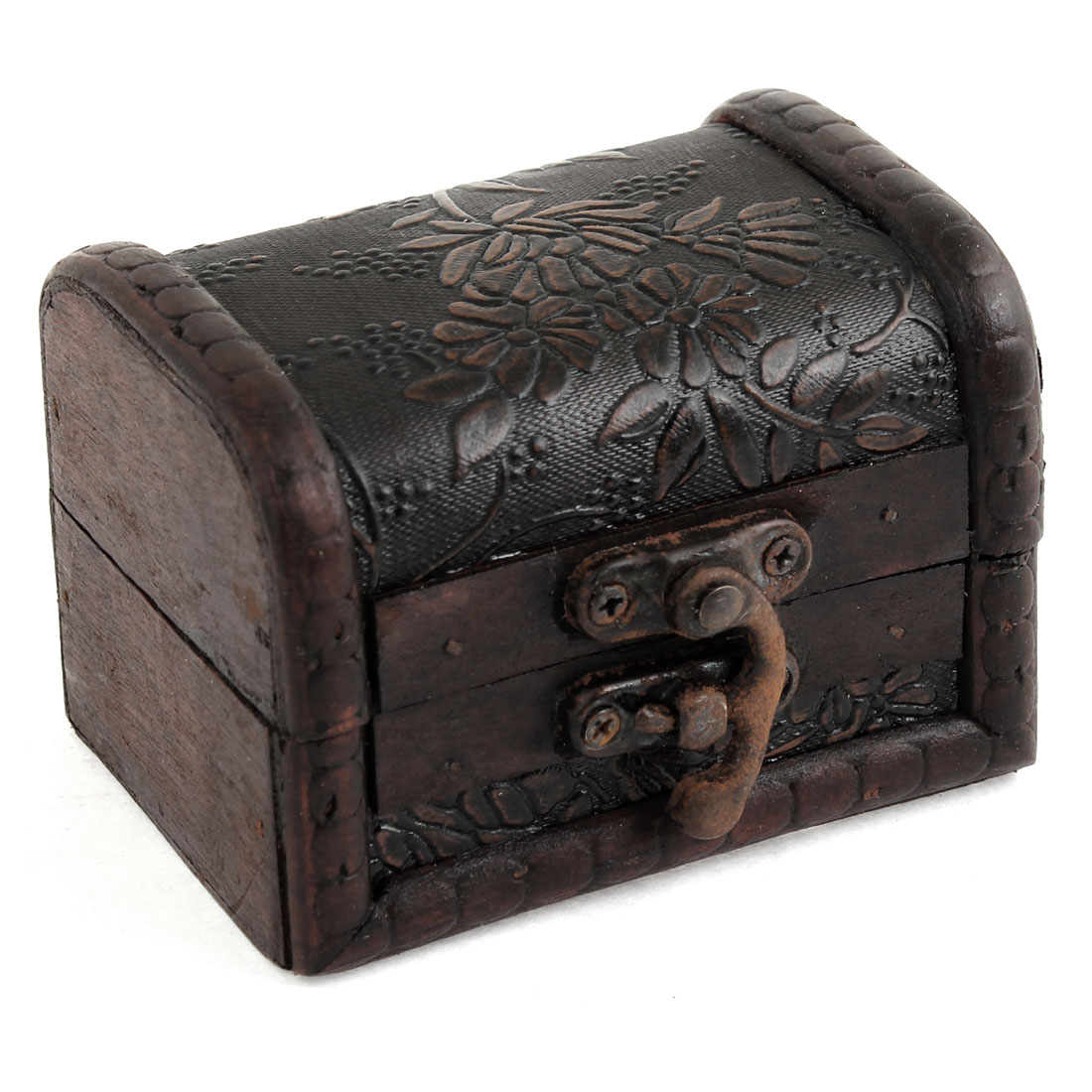 Wooden Vintage Antique Flower Carved Buckle Jewelry Storage Box Container Case