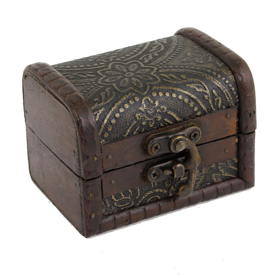 Flower Pattern Rectangular Wooden Jewelry Holder Case Box