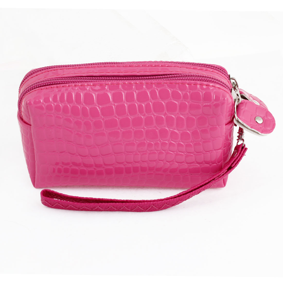 Ladies Faux Leather Alligator Pattern 3 Compartments Purse Fuchsia