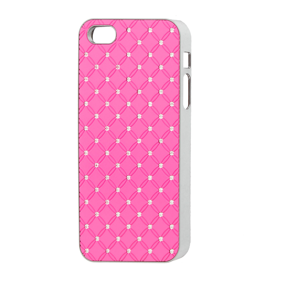 Sparkle Rhinestone Decor Grid Hard Back Case Cover Hot Pink for iPhone 5 5G