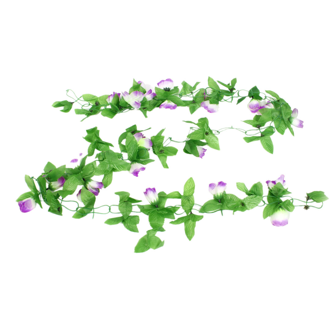 Wall Ornamment 1.8M Artificial Green Leaf White Purple Rose Flower Hanging Vine