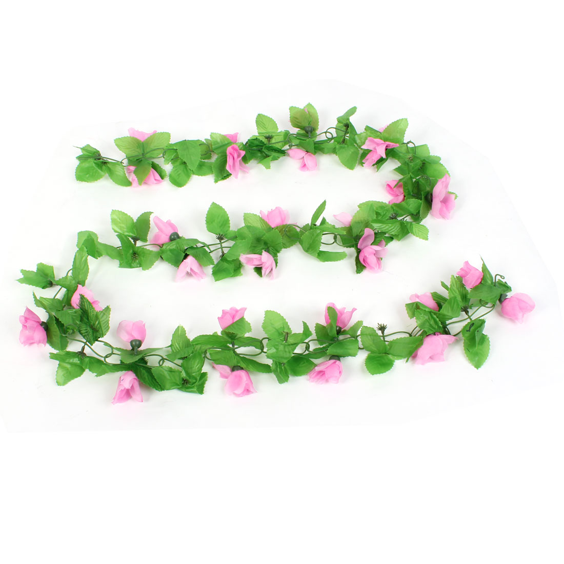 1.8M Long Green Plastic Leaves Pink Flower Wall Hanging Plant Vine