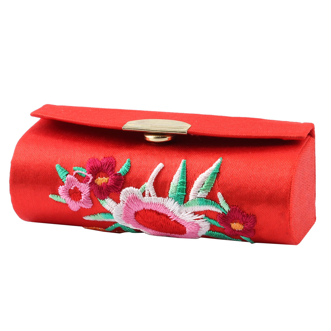 Metal Button Floral Chinese Embroidery True Red Lipstick Case + Mirror