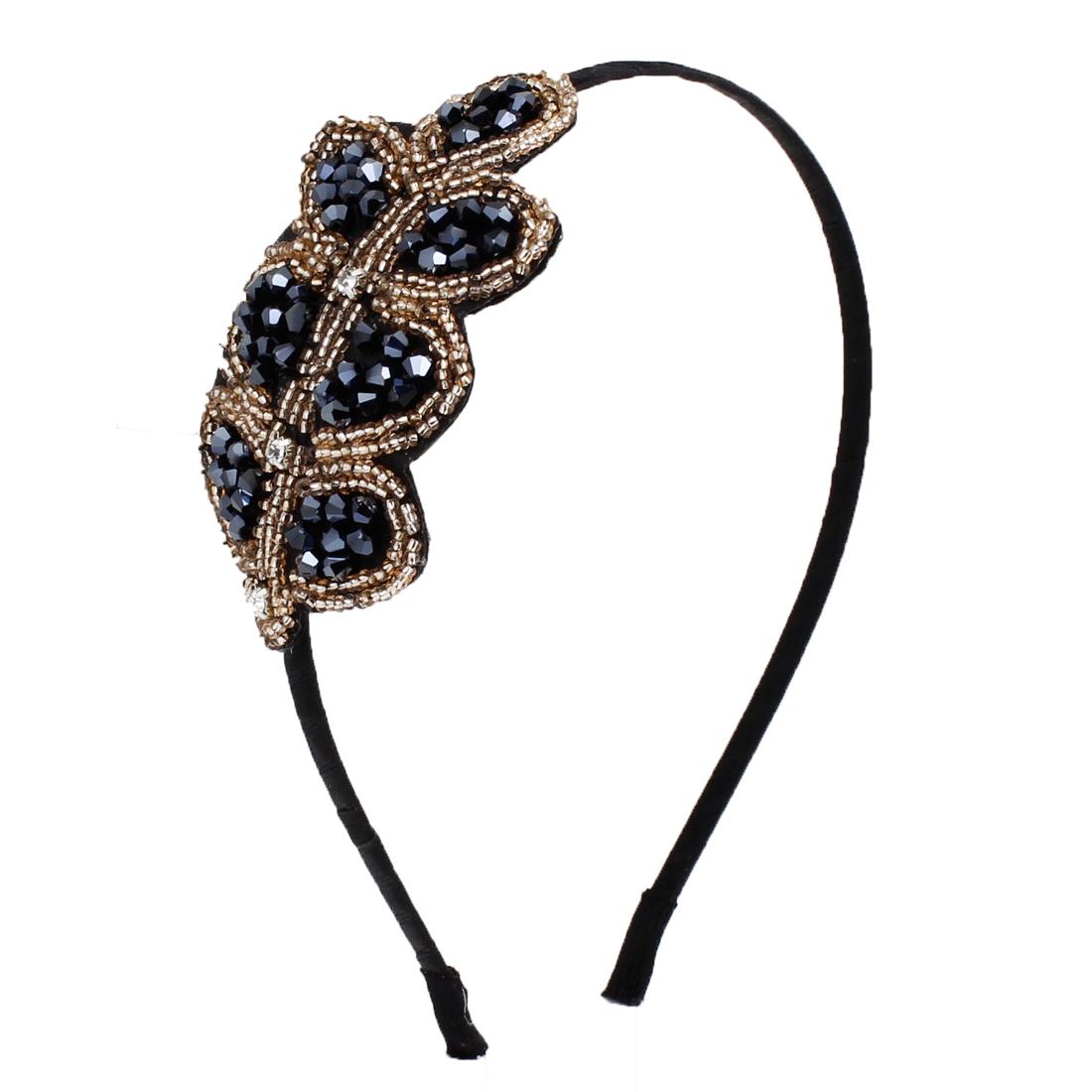 Women Blue Silver Tone Plastic Beads Decor Leaf Shaped Ornament Headband Hair Hoop