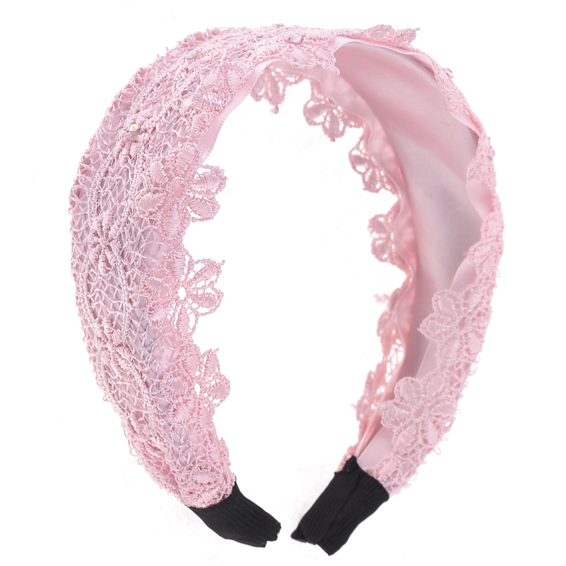 Pink Flower Lace Rhinestone Accent Mesh Plastic Hair Hoop for Lady