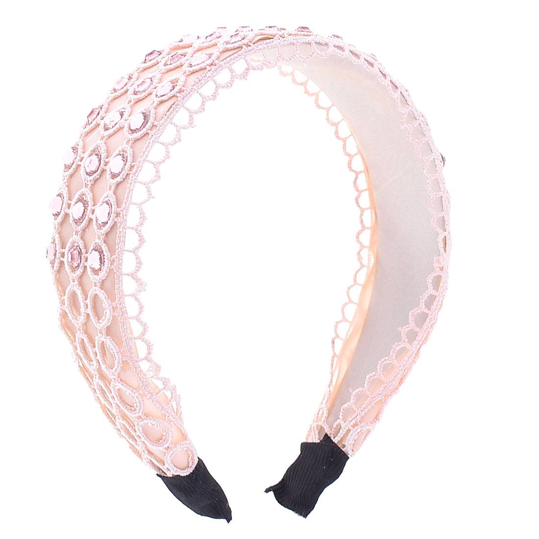 Women light Pink Rhinestones Inlaid Glittery Hair Hoop Hairband