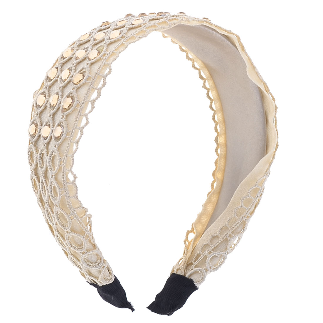 Circle Pattern Fabric Rhinestone Beige Hair Band for Ladies