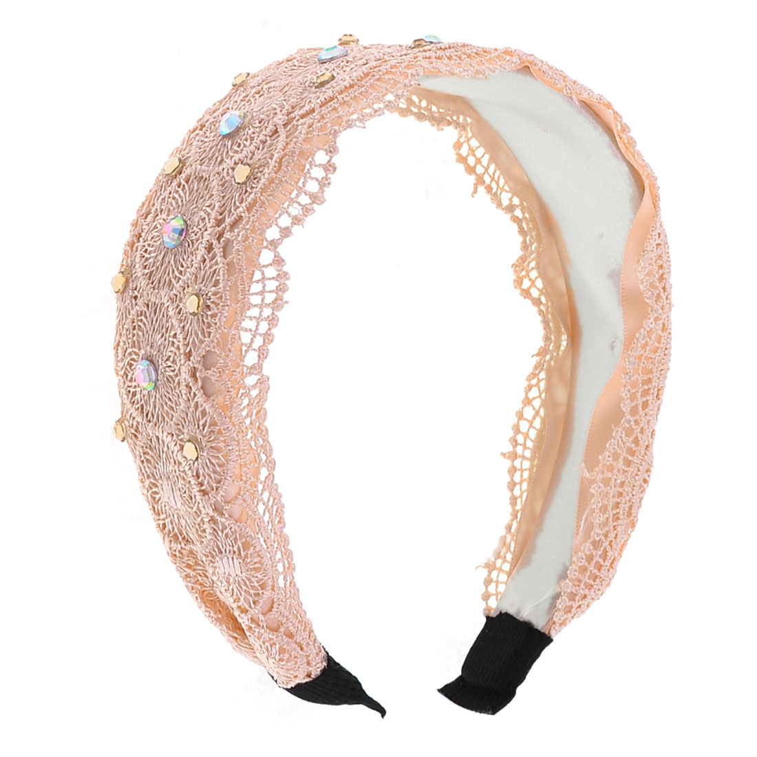 Light Pink Plastic Rhinestones Lace Edge Detail Hair Hoop for Girls