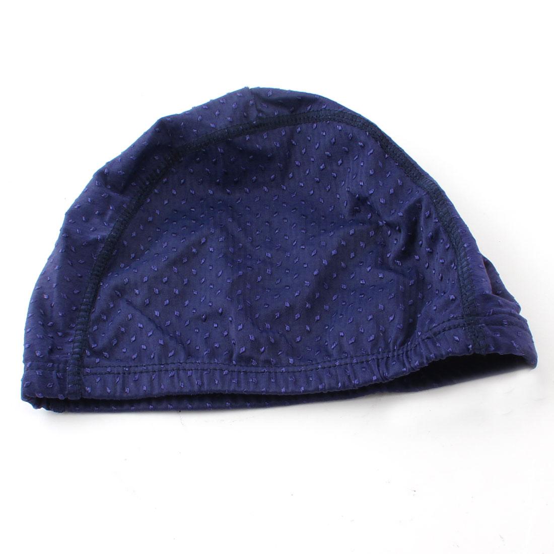 Child Navy Blue Embroidery Pattern Fiber Elastic Shower Swim Cap Hat