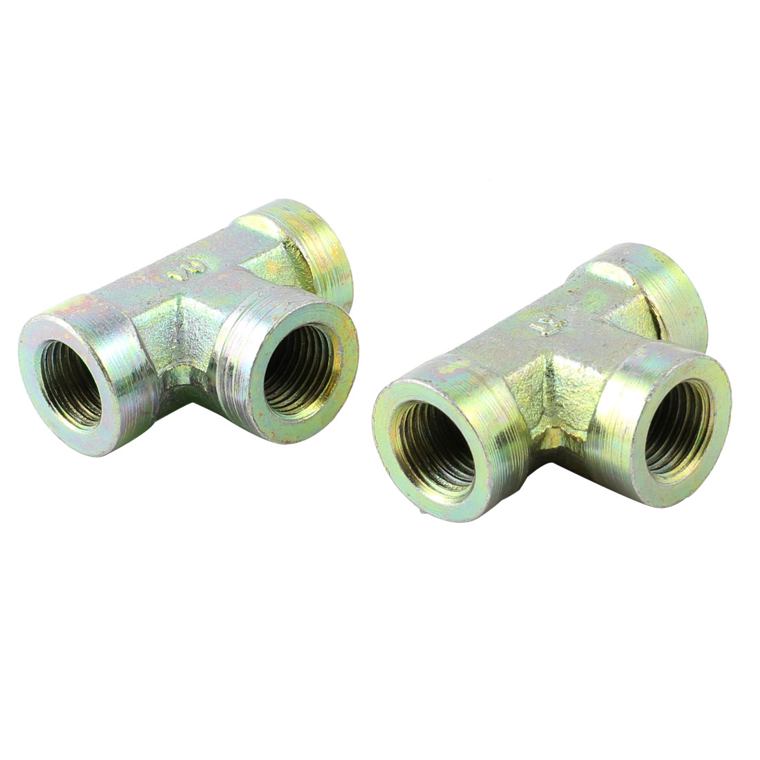 "2 Pcs Metal 1/4"" PT Thread T Shaped Equal Tee Connector Adapter"