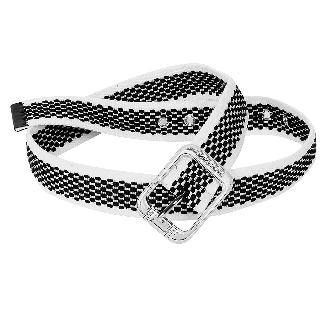 White Black Plaid Pattern Single Pin Buckle Textured Jeans Waist Belt for Lady
