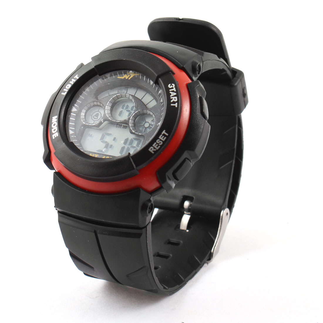 Man Red Black Round Dial Adjustable Watchband Backlight Alarm Sports Watch