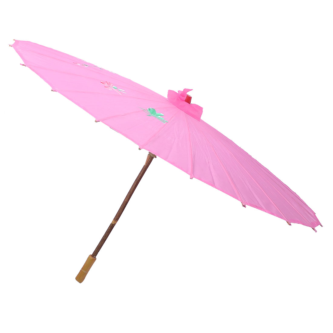 Wooden Handle Pink Plum Blossom Folded Chinese Bamboo Umbrella Parasol