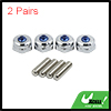 2 Pairs Silver Tone Metal Embed Blue Rhinestone Car License Plate Bolt Screw