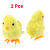 Faux Fur Coated Wind up Chicken Stuffed Plush Toy Clockwork Yellow 2 Pcs