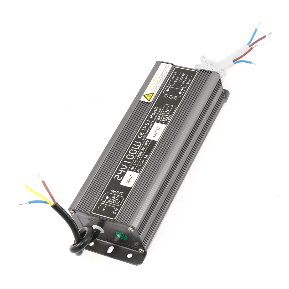 Waterproof IP67 Aluminum LED Driver Power Supply AC 170-250V DC 24V 4.17A 100W