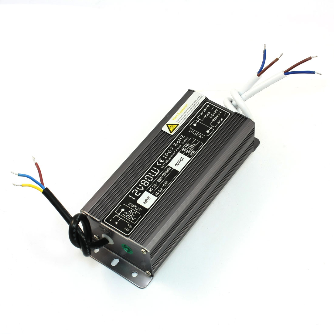 Waterproof IP67 Aluminum LED Driver Power Supply AC 170-250V DC 12V 6.67A 80W