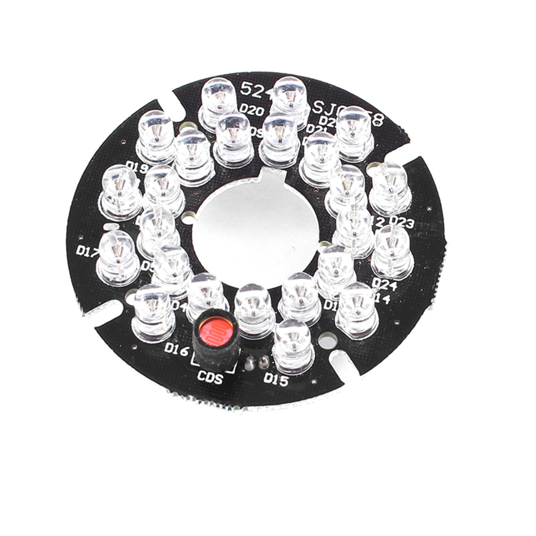 CCTV CCD Camera 60 Degree Bulb Red 24 LEDs Round IR Infrared Board Plate