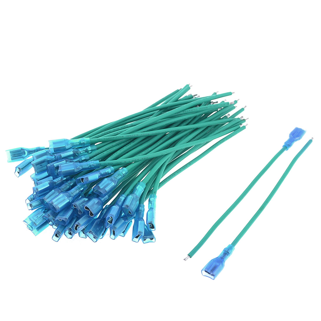 50 Pcs Motorcycle Car Speaker Blue Green Wire Connector Coil Cable 14cm Length