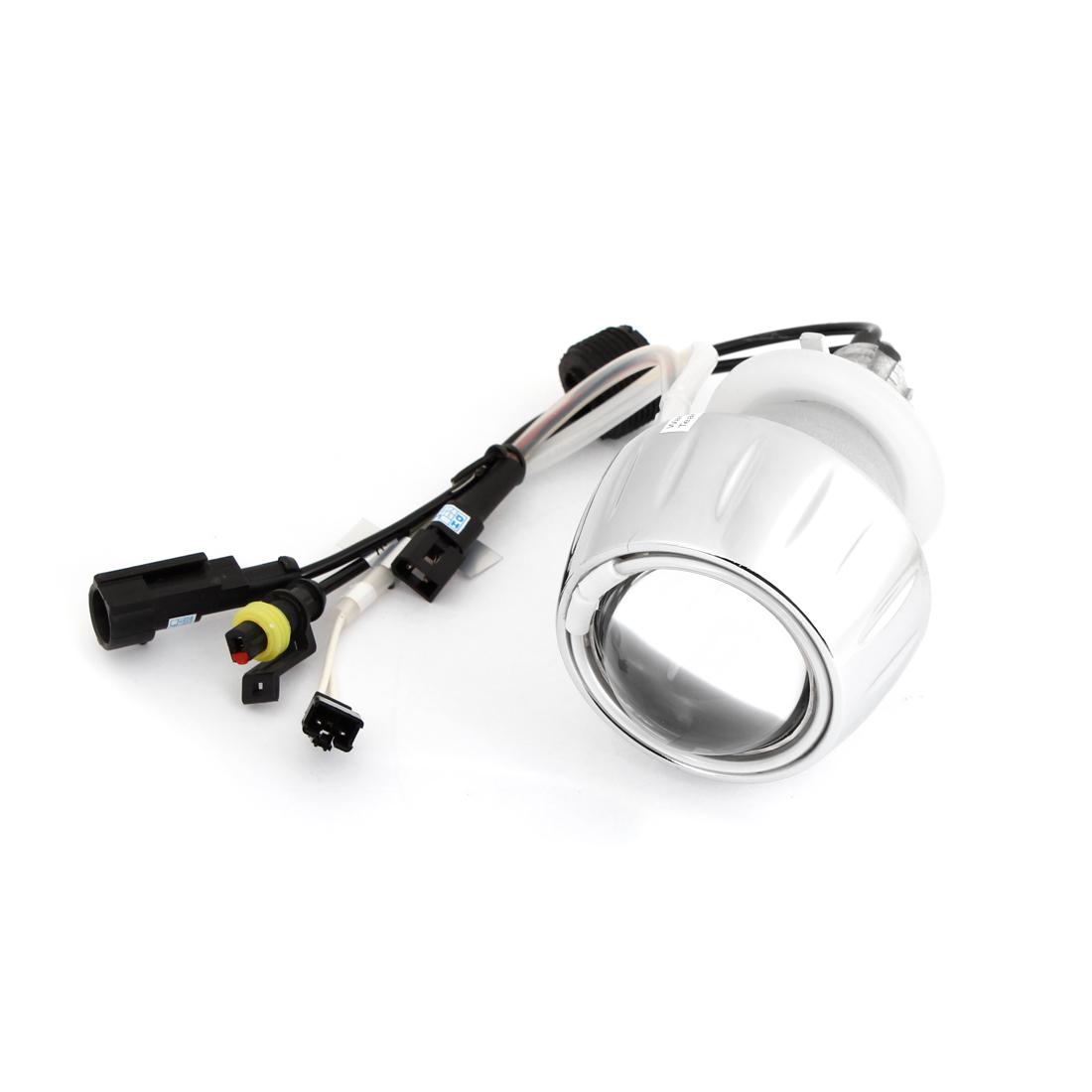 6000K 3000 LM White Angel Eye Motorcycle HID Projector Lens Lamp Light Kit 12V