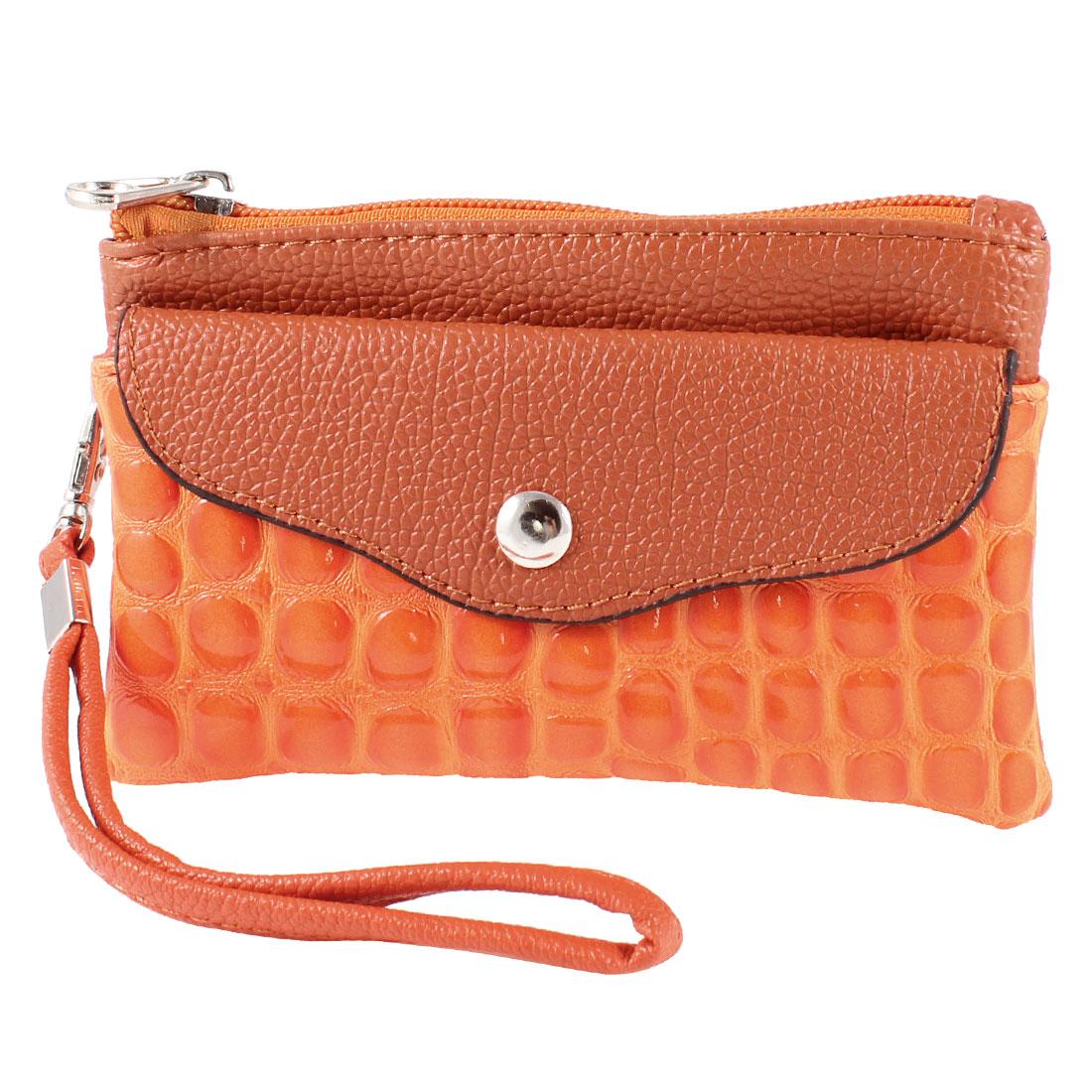Lady Orange Alligator Pattern 3 Comaprtments Faux Leather Wallet Purses