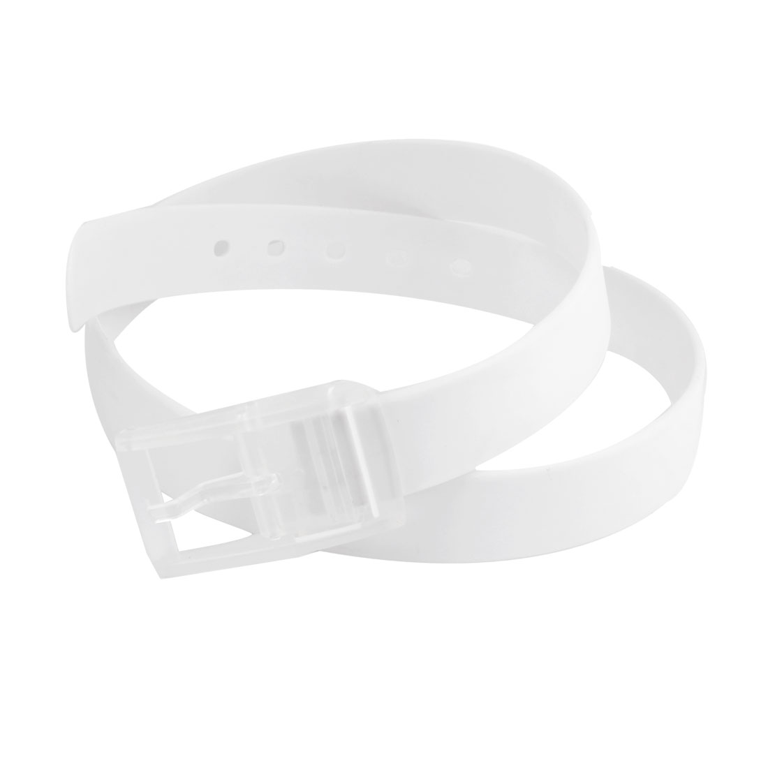 Unisex White Soft Silicone 5 Hole Band Single Allergy Free Buckle Waist Belt