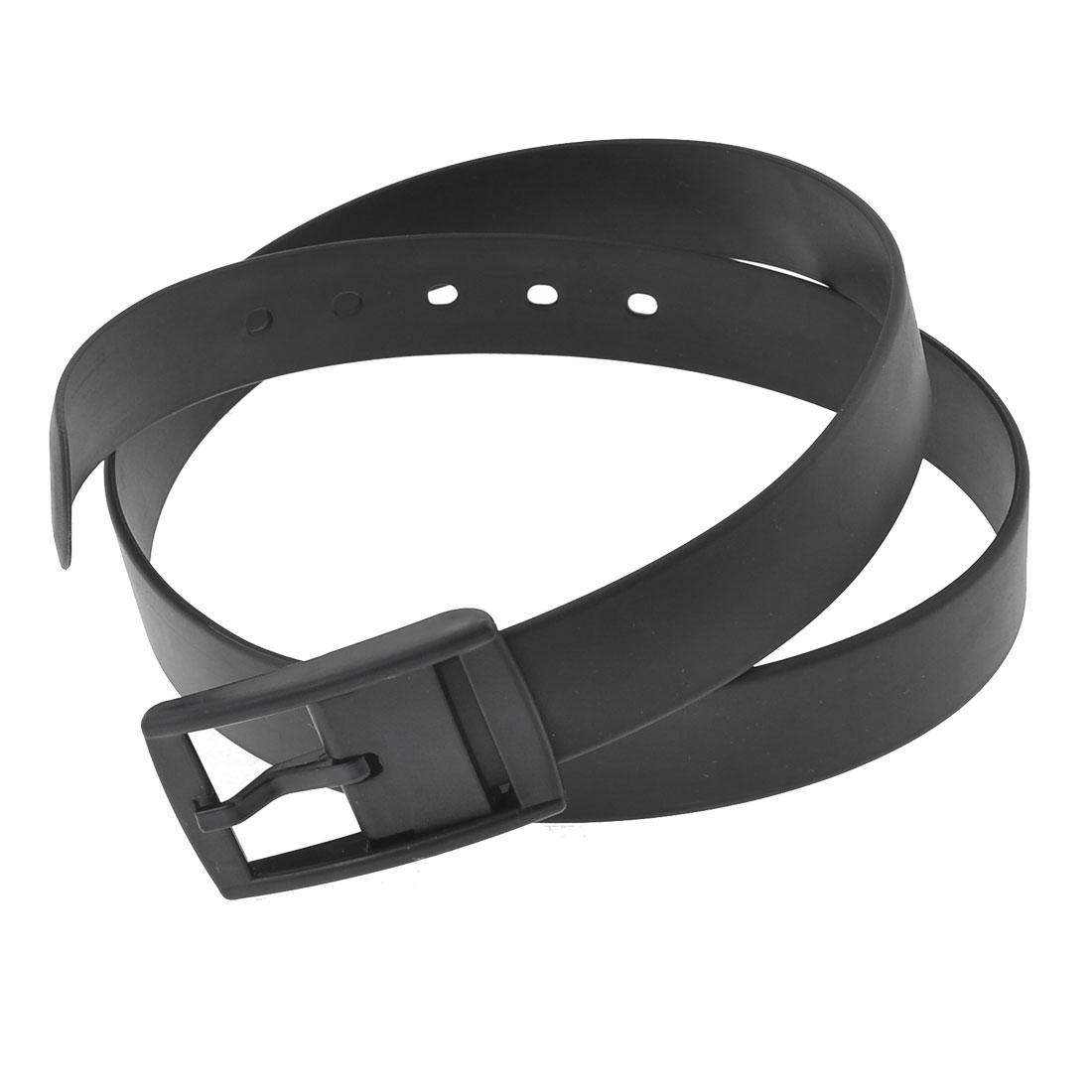 Ladies Black Single Prong Buckle Fragrant Band Allergy Free Waist Belt