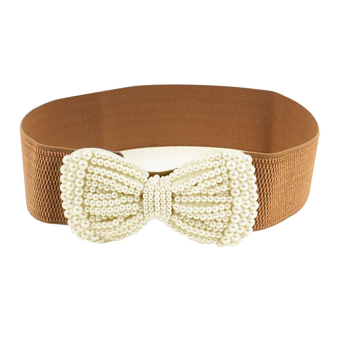 """Girls Brown Elastic Fabric Bowknot Press Button Buckle 2.3"""" Width Cinch Belt"""