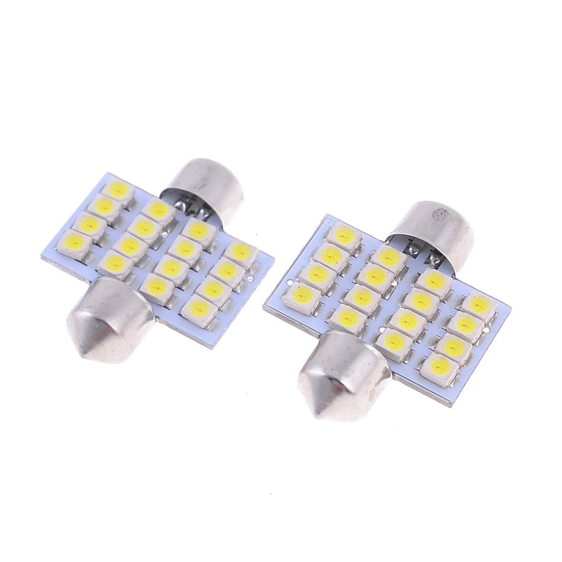 "2 Pcs 31mm 1.25"" 16-SMD 1210 White LED Festoon Dome Light Bulbs 3022 3175 DE3175"