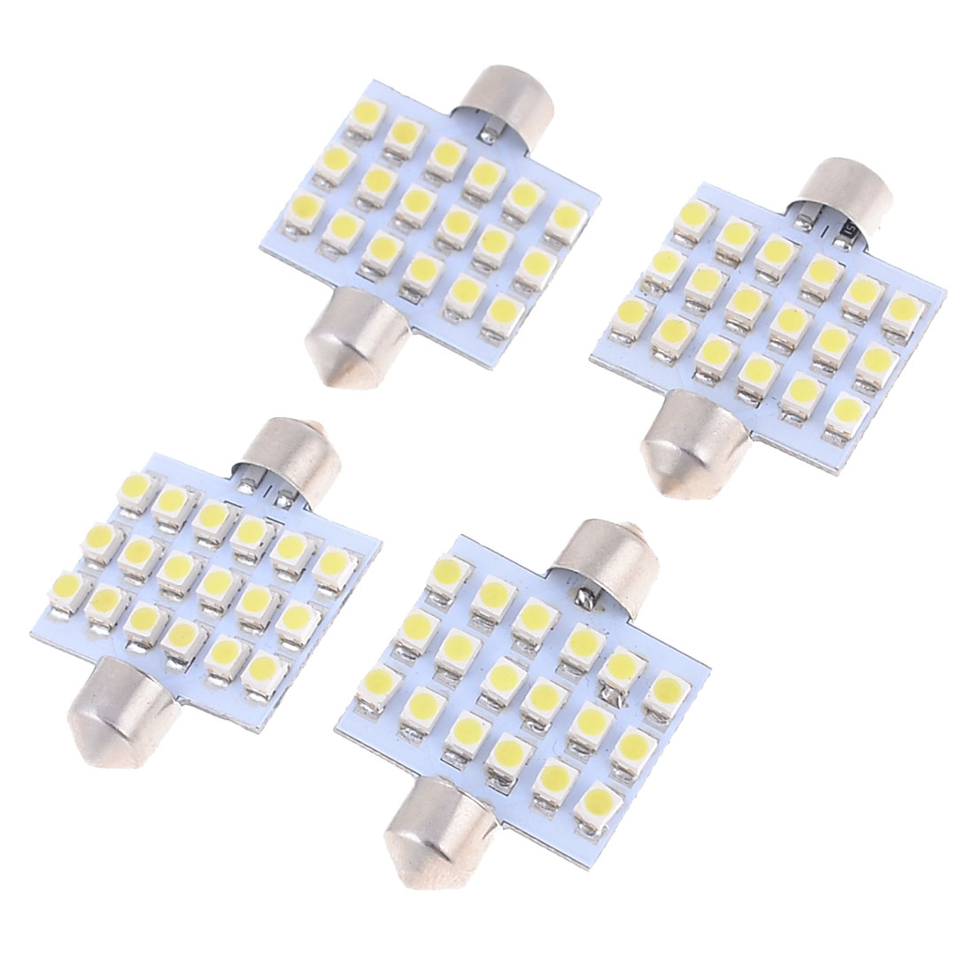 "4 Pcs 39mm 1.54"" 3528 SMD 18-LED White Festoon Dome Light Bulb DE3425 DE3423"