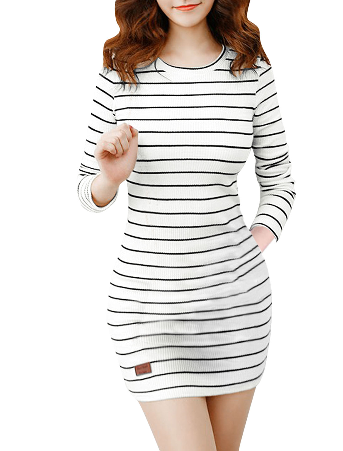 Lady Round Neck Long Sleeve Stripes Elastic Black White Dress XS