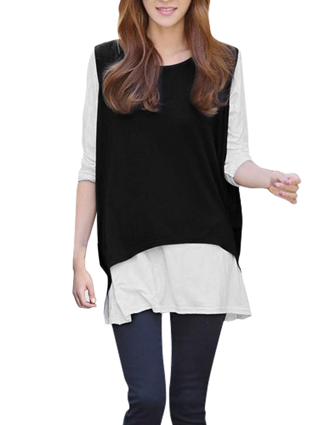Women Scoop Neck Layered Shirts Loose Black White Tunic Tee Shirt S