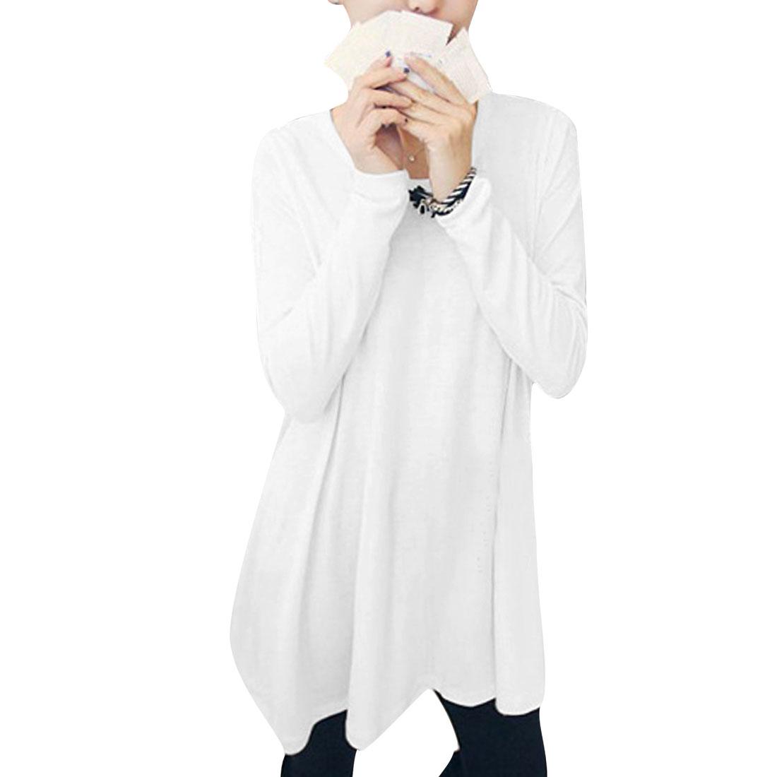 Women Design Stylish Elastic Semi Sheer Tunic Shirt White XS