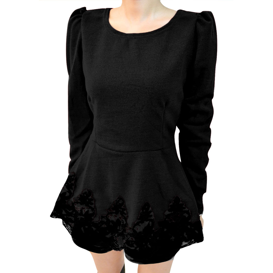 Women Black Round Neck Long Sleeve Crochet Hem Peplum Blouse XS