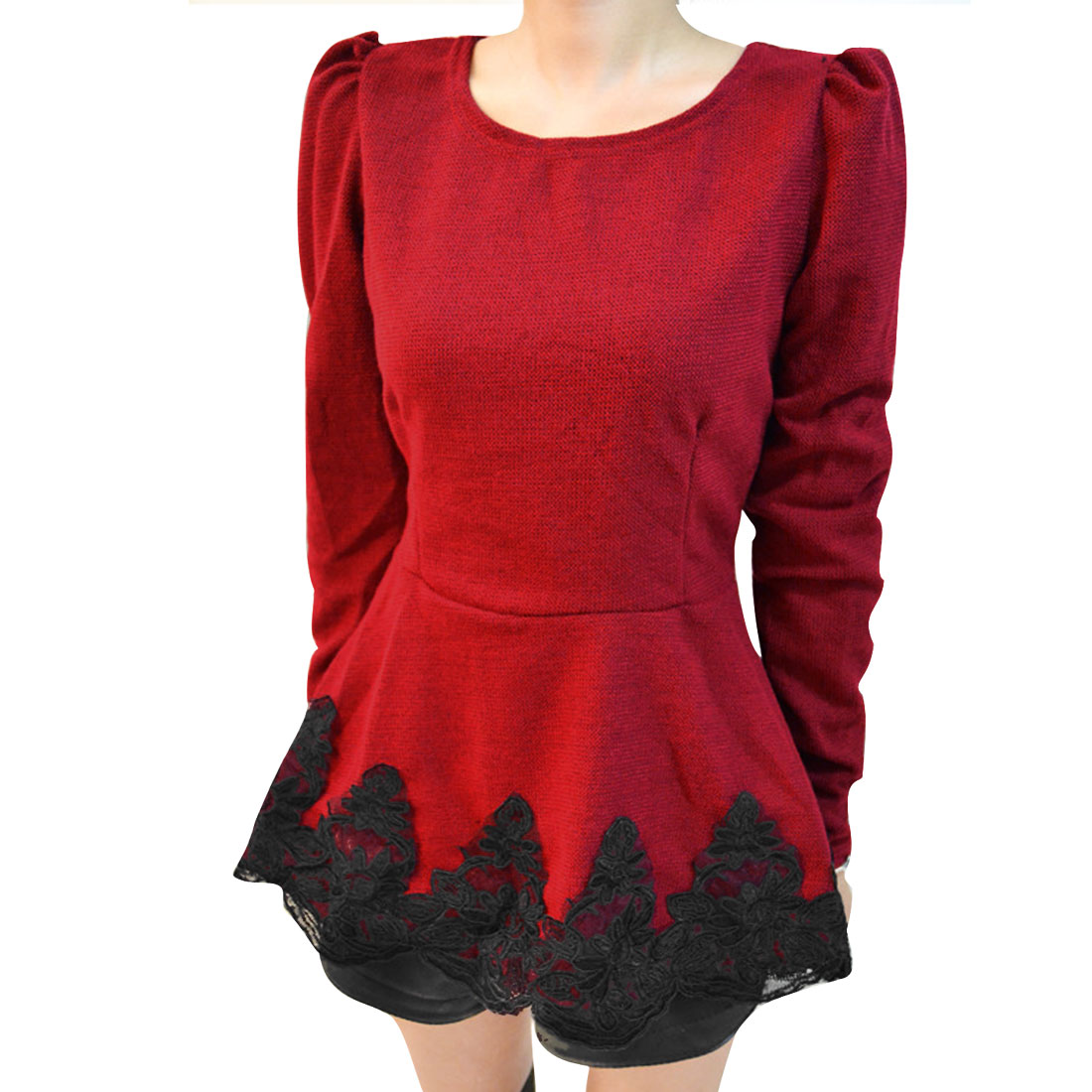 Women Red Splicing Round Neck Long Sleeve Casual Peplum Blouse XS