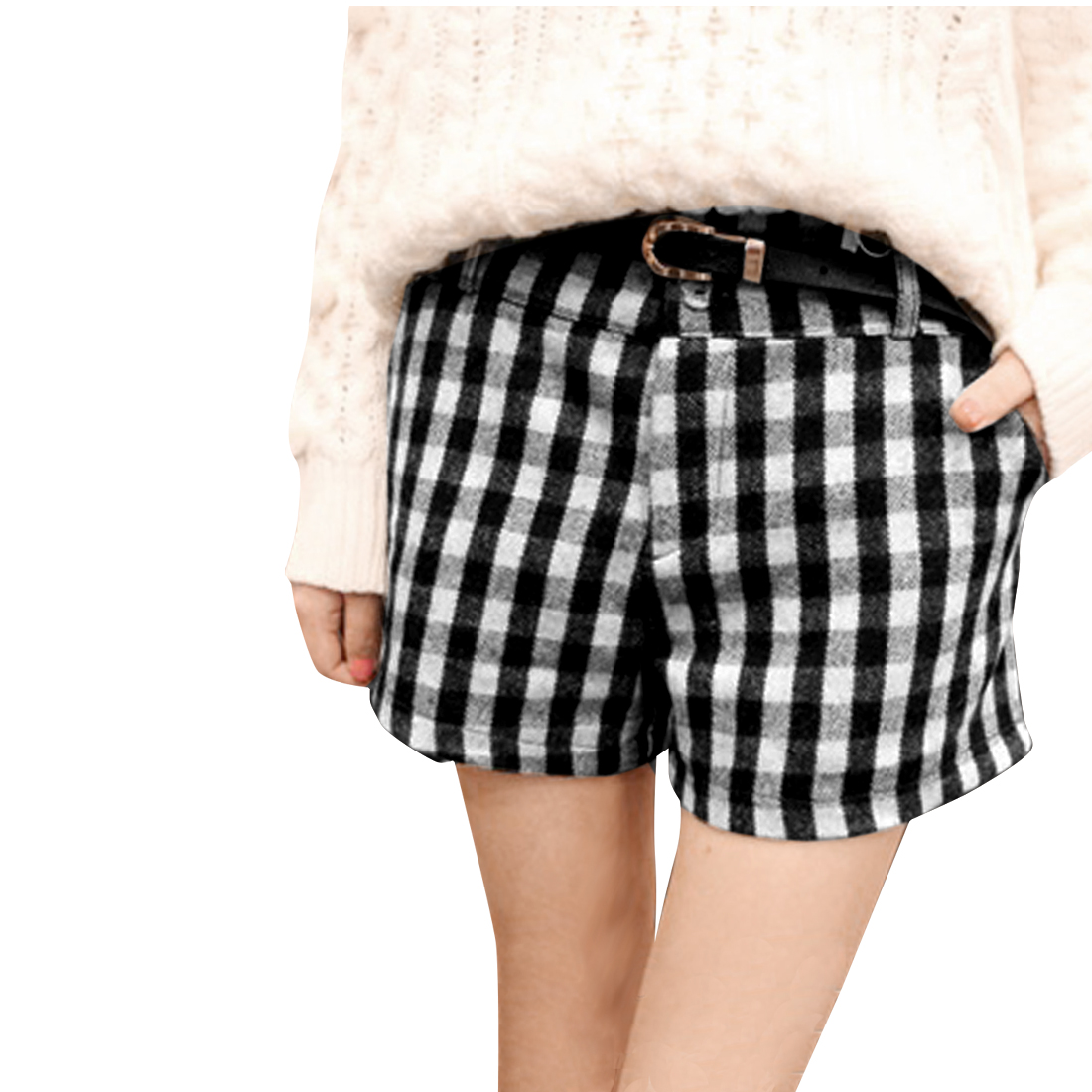 Lady Belt Loop Button Up Checked Pattern Black White Shorts w Belt S