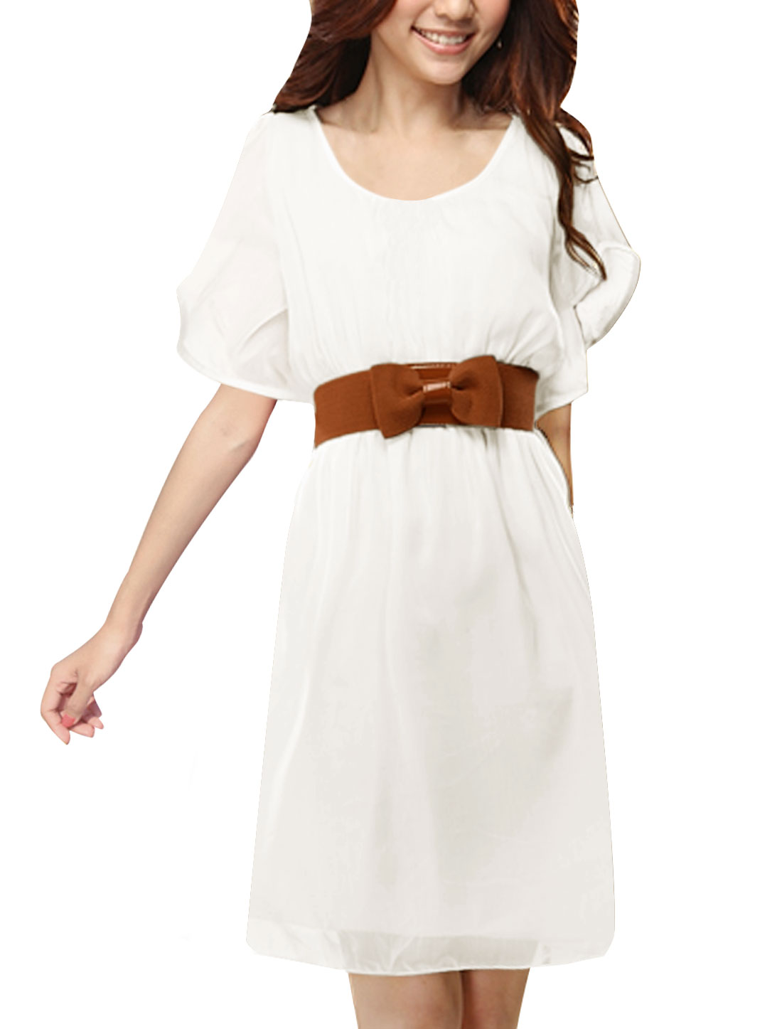 Ladies Pure White Elastic Waist Soft Chiffon Dress w Belt S