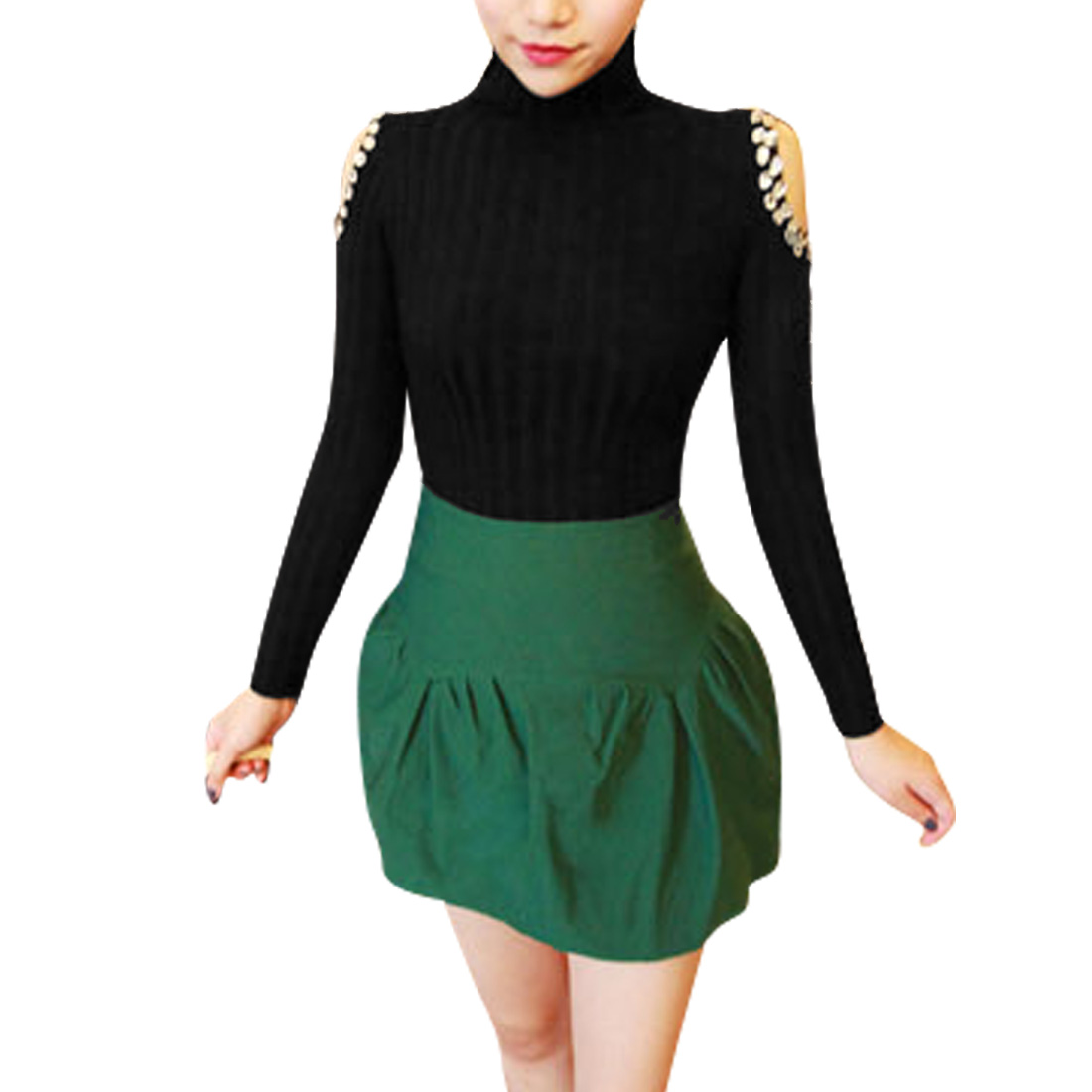 Women Turtle Neck Cut Out Shoulders Black Knit Top Shirt XS