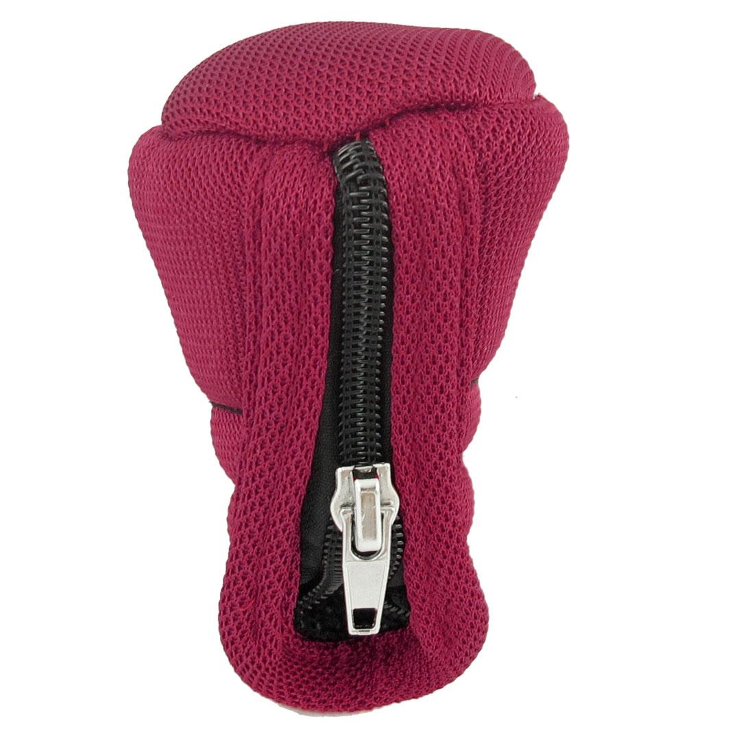 Zipper Closure Red Nylon Nonslip Gear Shift Knob Cover for Auto Car